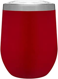 Hot or Cold - 12 oz. Double Wall Stainless Steel Copper Vacuum Insulated Stemless Wine Tumbler - Matte Red