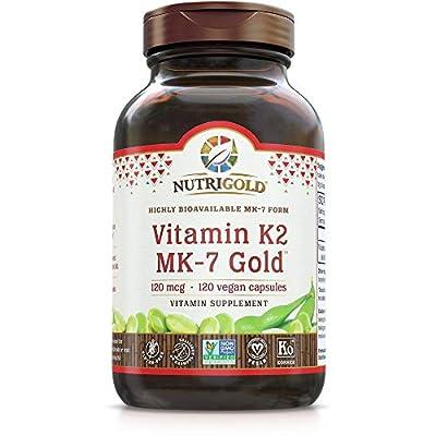 NutriGold Vitamin K2 MK7 Supplement, 120 Capsules, Bone and Heart Support, Non-GMO, Vegan, Kosher Vitamin K Supplement with MK-7