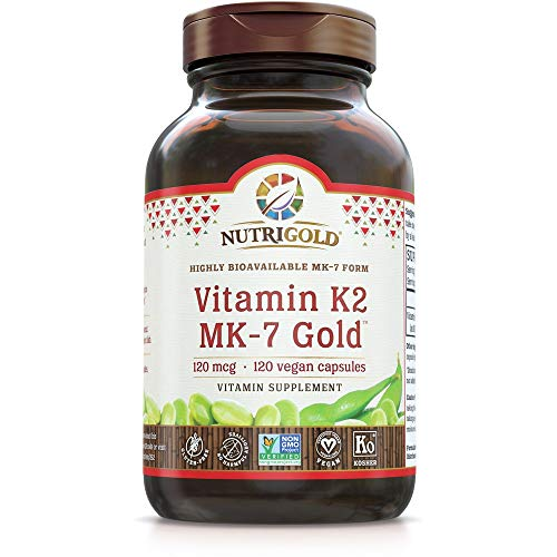 NutriGold Vitamin K2 MK7 Supplement, 120 Capsules, Bone and Heart Support, Non-GMO, Vegan, Kosher Vitamin K Supplement with MK-7