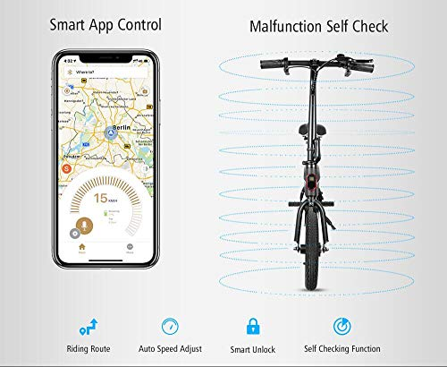 Electric Bikes Kugoo B1 Electric Bike, Foldable Bike with 250W Brushless Motor, App Support, 12 Inch Wheel Max Speed 25 km/h E-Bike for Adults and Commuters