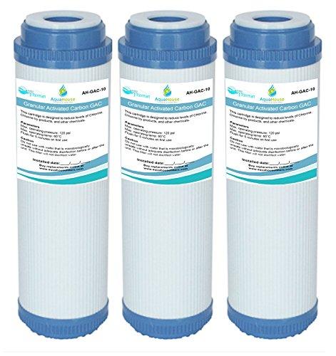 AquaHouse Gac-10 Lot de 3 Cartouches pour l'Osmose Inverse - Filtre à Eau au Charbon Actif Granulaire - pour l'ensemble de la Maison, l'Eau Potable - 25,4 cm
