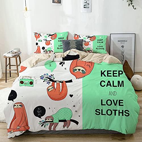 CONICIXI Funda Nórdica Cama Lazy Sleepy Bear Tribu de Perezosos australianos con Dibujos Animados de Cita 'Keep Calm' Fundas Edredón Nórdico 220x240cm con 2 Fundas de Almohada 50x80cm