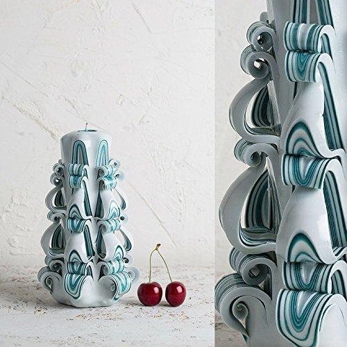 Strisce Turchese Su Bianco - Candela Intagliata Decorata - Colori Delicati - Scultura Artistica - EveCandles