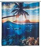 WENKO Duschvorhang Underwater, Textil-Duschvorhang fürs Badezimmer, inkl. Ringen zur Befestigung an der Duschstange, waschbar, 100 prozent Polyester, 180 x 200 cm, mehrfarbig