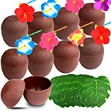 TUPARKA 12 Pack Coconut Cups for Hawaiian Luau Party with Hibiscus Flower Straws and Tropical Plam Leaves, Aloha Tropical Party Beach Theme Party Fun Drink Decoration