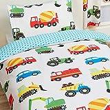 Trucks and Transport - Juego de sábanas de 2 piezas, 1 sábana de doble cara y 1 funda de almohada