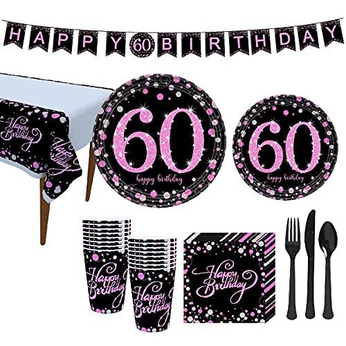 Rehomy Suministros para fiesta de cumpleaños, 60 cumpleaños fiesta vajilla conjunto platos tazas, servilletas, banner mantel tenedor cuchillo cuchara, sirve 16