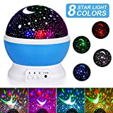 Night Light for Kids, Moon Star Projector - 4 LED Bulbs 8 Light Color Changing with USB Cable, 360 Degree Rotation, Romantic Night Lighting for Baby Kids Women, Christmas Party Bedroom Decoration