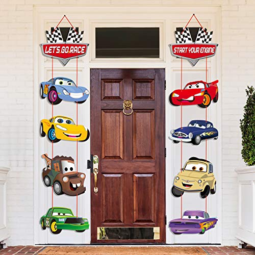 PANTIDE Race Car Cutouts Door Sign Porch Sign, Cardboard Checkered Flags Hanging Banner for Outdoor Indoor Home Wall Decorations, Let's Go Racing Theme Party Decoration Supplies Kit for Kids Race Fans