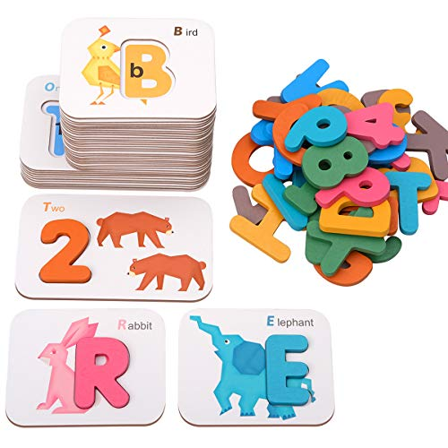 Coogam Alphabets and Numbers Flash Cards, Wooden Letters ABC Animal Matching Puzzle Colors Sorting Game, Preschool Learning Educational Montessori Toy Gift for Toddlers 3 4 5 6 Years Old Kids