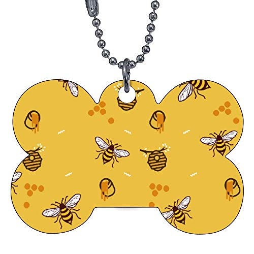 Custom Pet ID Tags, Flying Bees Honey Bone Personalized Dog Tags Cat Tags Identification Custom Text Pet Tag Bow Tie