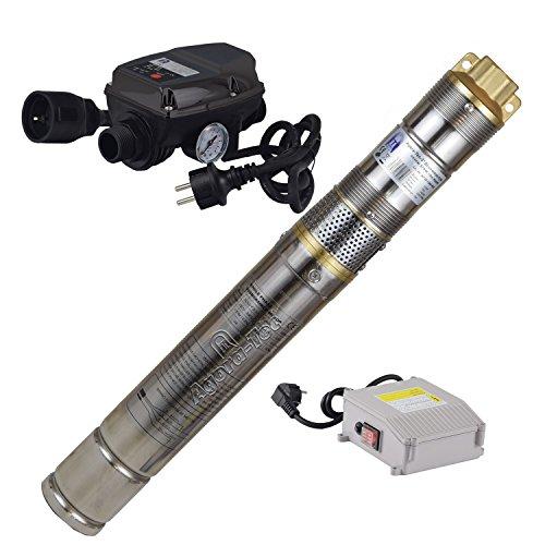 Agora-Tec® at- 3 Zoll 370W-screw-5DW Tiefbrunnenpumpe Set für einen 15 Meter tiefen Brunnen, sandresistente 3 Zoll Brunnenschraubenpumpe und Druckschalter mit max: 7,5 bar, 1800l/h