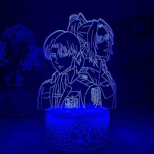 3D Nacht Lampe Illusion Lampe Angriff auf Titan Levi Ackerman Acryl 3D Lampe Hange Zoe für Home Room Decor Light Kind Geschenk Hange Zoe LED Nachtlicht Anime ZMSY