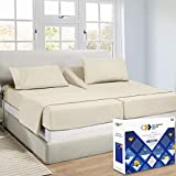 Luxurious Ivory Bed Sheets Split King Size - 1000 Thread Count 100% Real Cotton, Sateen Weave 5 Piece Sheet Set, Elasticized Deep Pocket Fits Low Profile Foam and Tall Mattresses