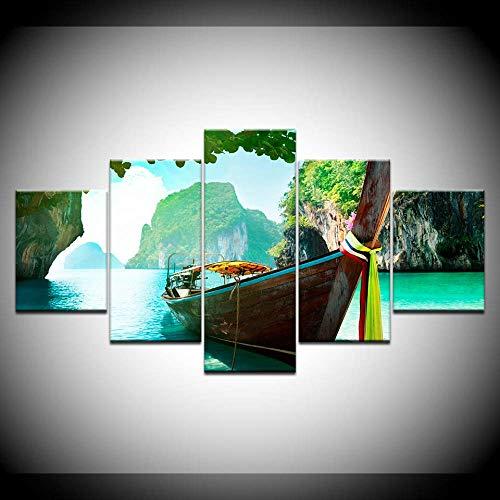 Canvas schilderij mantel met Andamanenzee Thailand 5 stuks muurkunst schilderij modulaire behang poster print huis decor 40x60cmx2 40x80cmx2 40x100cmx1 Met frame.
