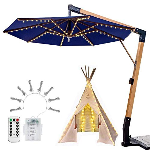 Parasol String Lights Umbrella Light, Led Control Remoto Lámpara De Tienda Impermeable 8 Modos Farol Postes Cadena De Luces para Boda Decoración Navideña Luz, Blanco Cálido