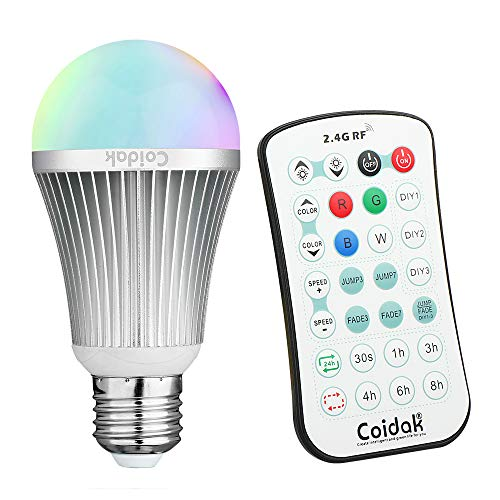 Coidak CO816 E26 RGB LED Color Changing Light Bulb with Timer & 2.4G RF Remote (Can Bypass Obstacles, Not IR), Pure White, Dimmable A19 Lamp, Aluminum Shell, 1-PACK