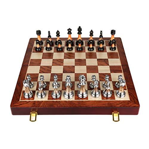 Yayan Juego de ajedrez de madera maciza plegable de ajedrez, juego de ajedrez, caja de regalo de gama alta, piezas de ajedrez, adornos de ajedrez retro estilo europeo (color: grande)