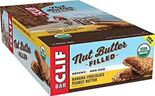 CLIF Nut Butter Filled - Organic Snack Bars - Banana Chocolate Peanut Butter - (1.76 Ounce Protein Snack Bars, 12 Count)