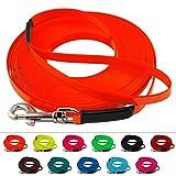 Extra leichte Schleppleine aus 13 mm Super Flex BioThane / 1-30 Meter [10 m] / 6 Farben [Neon-Orange] / genäht / mit Handschlaufe