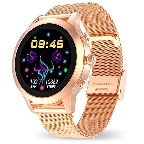 Aney Well Smartwatch Donna Orologio Fitness Donna Orologio Intelligente Ip68 Impermeabile Con Cardiofrequenzimetro Bluetooth Sonno Notifiche Messaggi Activity Tracker Per Android Ios Oro