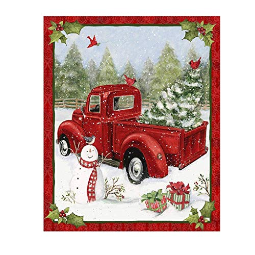 Christmas Fabric Red Truck Collage Panel 36x44 Inch, Creative 100% Cotton Fabric Panel Winter Holiday Christmas Decorations for Quilting Apparel and Home Decor Accents (Multicolor)