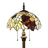 Tokira Tiffany Estilo de 64 Pulgadas Lámpara de Pie, Cómoda Lámpara de Lectura de Hoja de Arce Grande Pantalla de Lámpara, Sala de Estar Estudio de Arte Luz de Noche Estándar