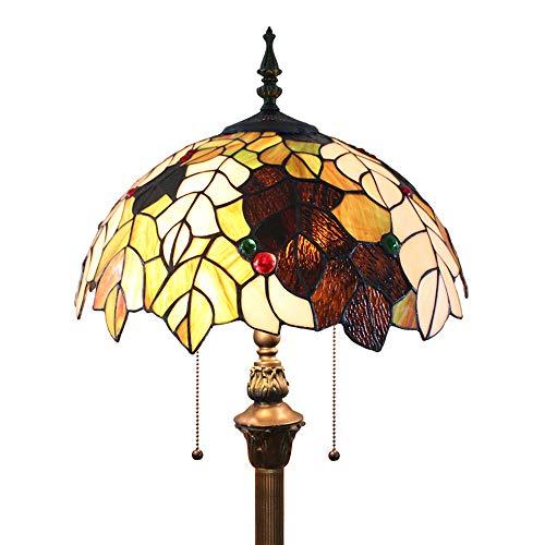 Tokira Tiffany) Stil Stehlampe 64 Zoll, Komfortable Ahornblatt Glasmalerei Große Leselampe Schatten, Wohnzimmer Studie Kunst Standard Nachtlicht