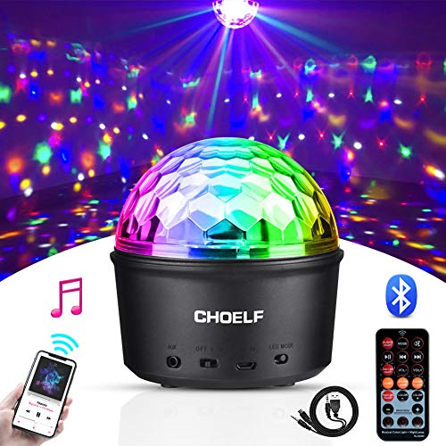 CHOELF Luces Discoteca, Bola Discoteca con Altavoz Bluetooth y Cable USB, LED Giratoria Luz de Fiesta 9 Colores RGB Lámpara de Noche con Mando a Distancia, Iluminacion para Cumpleaños Bodas Navidad