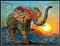 5dダイヤモンド絵画セット、カラフルな象、クリスタルラインストーン刺繡、家の壁の装飾ギフトに使用-スクエアダイヤモンド_60 * 80