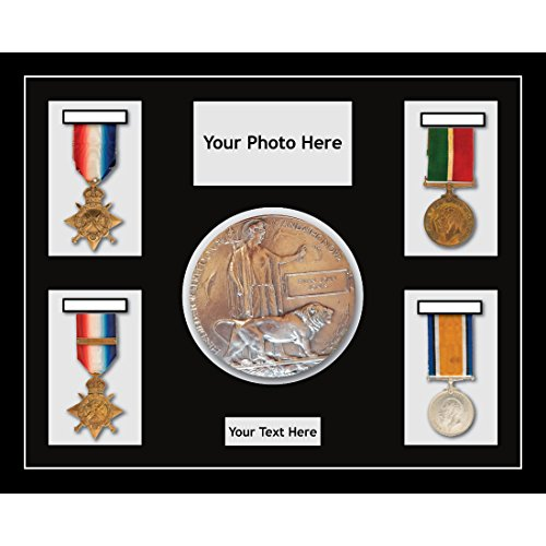 Kwik Picture Framing Ltd Medal Frames in 3D Box Display Frame casing World War Military Medals 4 & Memorial Plaque 1 - Black Frame Black Mount