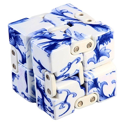 Trekbest Infinity Cube Fidget Toy - Pressure Reduction Anxiety Relief Toy Killing Time for ADD, ADHD, Anxiety, and Autism Adult and Children (Blue and White Porcelain)
