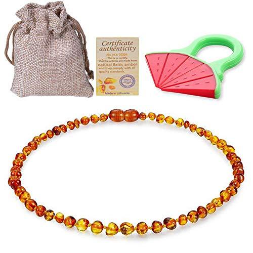 Collar de ámbar Pulsera Collar de ámbar báltico Pulsera de Cuentas de ámbar coñac para Regalos-Collar de 33 cm