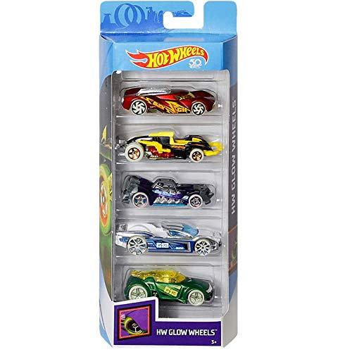 HW Hot Wheels Glow Wheels 5-Pack Diecast Vehicles Minnesota
