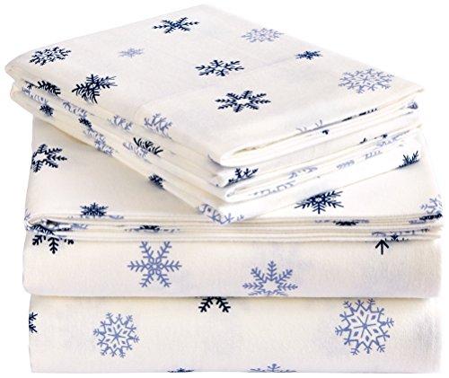 Pinzon Juego de sábanas de franela, Queen, copo de nieve azul que cae