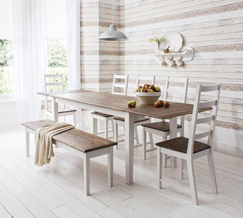 Tisch Canterbury mit 5Stühlen und Bank, ausziehbarer Esstisch mit 2-facher Erweiterung