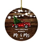 Our First Christmas as Mr & Mrs Just Married Re Truck Christmas Tree Ornament Our First Christmas as mr. and mrs. Gift for Newlywed Couple 2021 (Brown Married mr mrs)