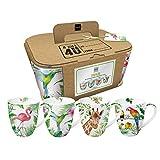 4 tazas de porcelana con asa, diseño de animales tropicales, flamenco, colibrí, jirafa, loro, tucán, 0,35 l, altura: 10,8 cm, diámetro: 9 cm