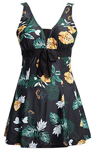 Ecupper Damen Badekleid Blumen Muster Gepolstert Badeanzug mit Shorts Bademode Große Größen Schwarz Blumen 4XL
