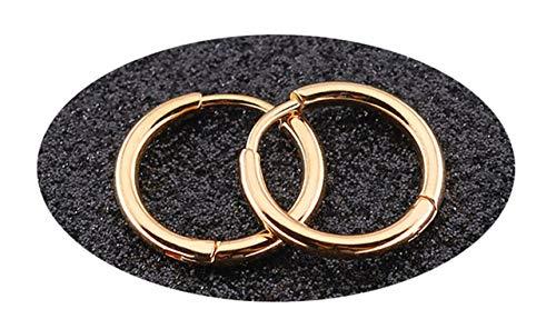 OUHUI Novedad Pendiente de acero inoxidable para hombres y mujeres Pendientes de aro con forma de círculo/Oro rosa / 2.0x12mm