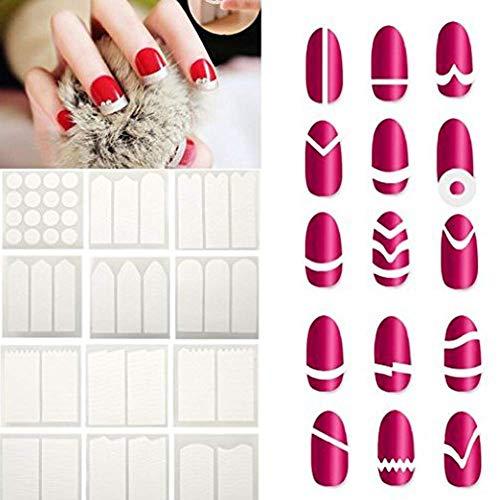 Pegatinas de uñas francesas Manicura Puntas de uñas Pegatinas de guía de línea de sonrisa Pegatinas de guía de línea de arte de uñas Consejos de maquillaje Maquillaje 24 hojas/Set