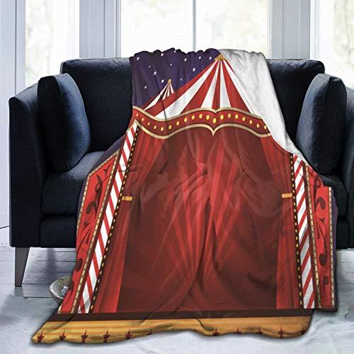 RUBEITA Ultraweiche Micro Fleece Decke,Zirkus Vorhänge Zelt Zirkus Leinwand Theateraufführung,Home Decor Warmwurfdecke für Couchbett,50