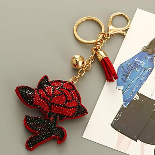 1 Set Flower Red Rose Rhinestone Purse Leather Keychain Gifts Pendant Women Love Heart Wrist Wristlet Key Ring Transcendental Popular Pocket Bag Car Keyrings