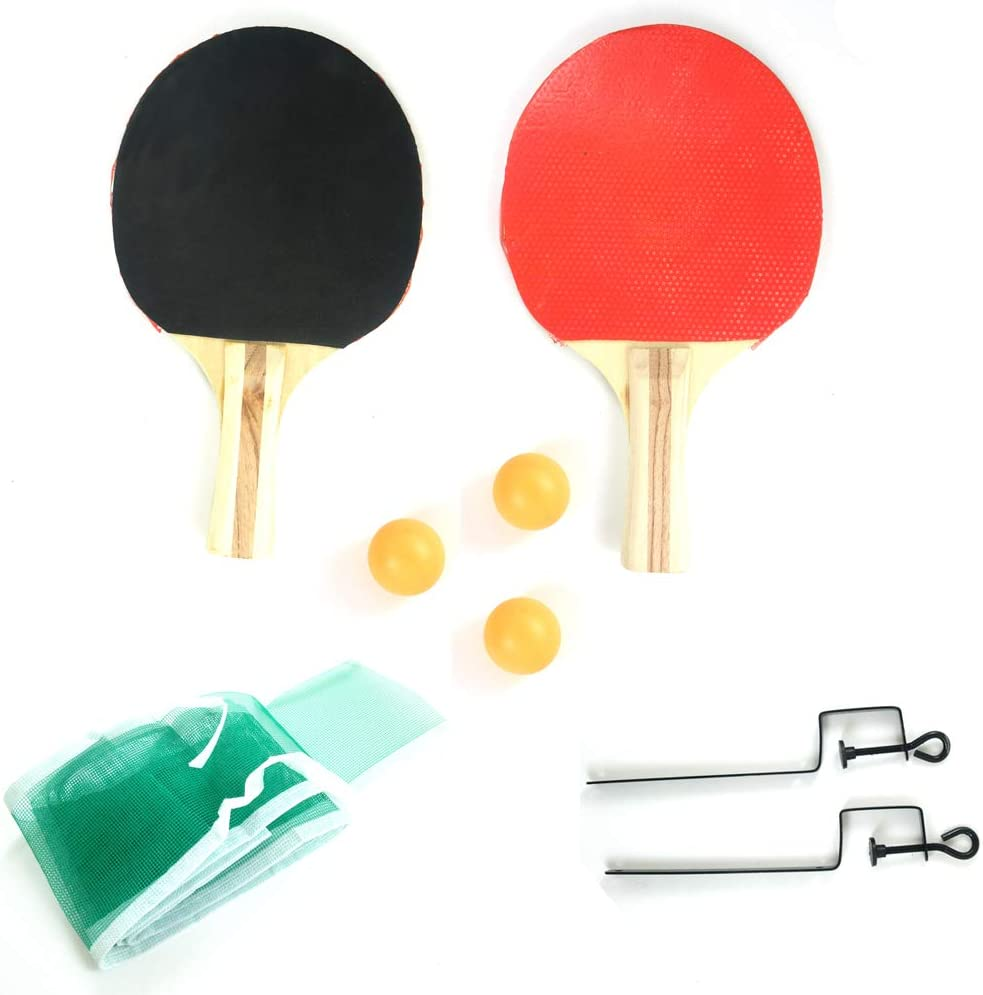 Table Tennis Ping Pong Set with 2 Paddles, Net, Balls, and Posts