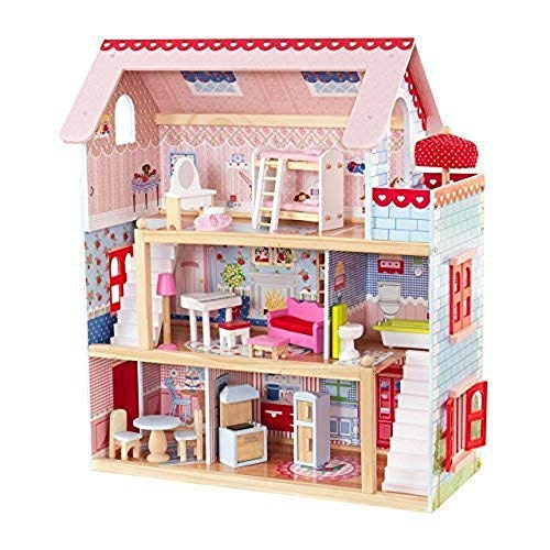 Kidkraft 65054 Chelsea Cottage Wooden Dolls House with Furniture and Accessories Included, 3 Storey Play Set