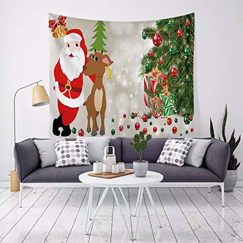 MMHJS Natale Europeo Scena di Neve Albero di Natale Alce Panno Decorativo Stampato Sfondo di Colore Puro Stoffa Arazzo Camera da Letto Soggiorno Festa Vacanza Arazzo