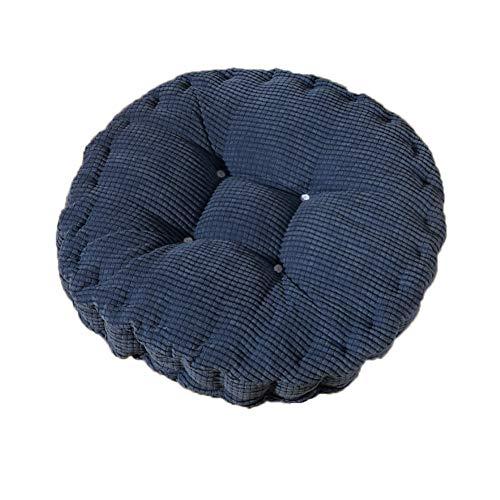 Fablcrew Sitzkissen Stuhlkissen Polster Hochlehner Auflage Corduroy Rund Sitzauflage für Stühle Gartenmöbel (Blau)