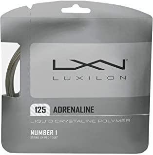 Luxilon Adrenaline 16 Gauge - 125 Polyester (Poly) Tennis Racquet String Set in Multi-Packs - Best for Power, Playability, and Durability (2-4-6-8-Packs)