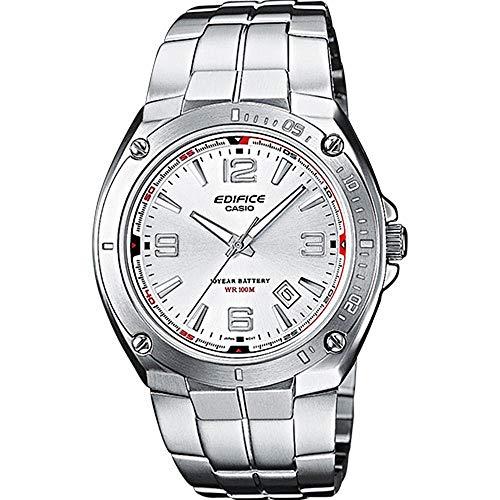 Casio EDIFICE Reloj en caja sólida, 10 BAR, Blanco, para Hombre, con Correa de Acero inoxidable, EF-126D-7AVEF