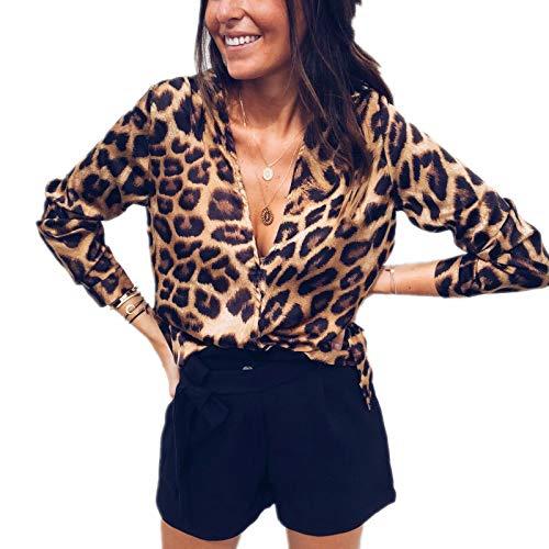 Loalirando Camicetta Donna Leopardata Scollo a V Blusa Elegante Camicia Manica Lunga (S-XL)
